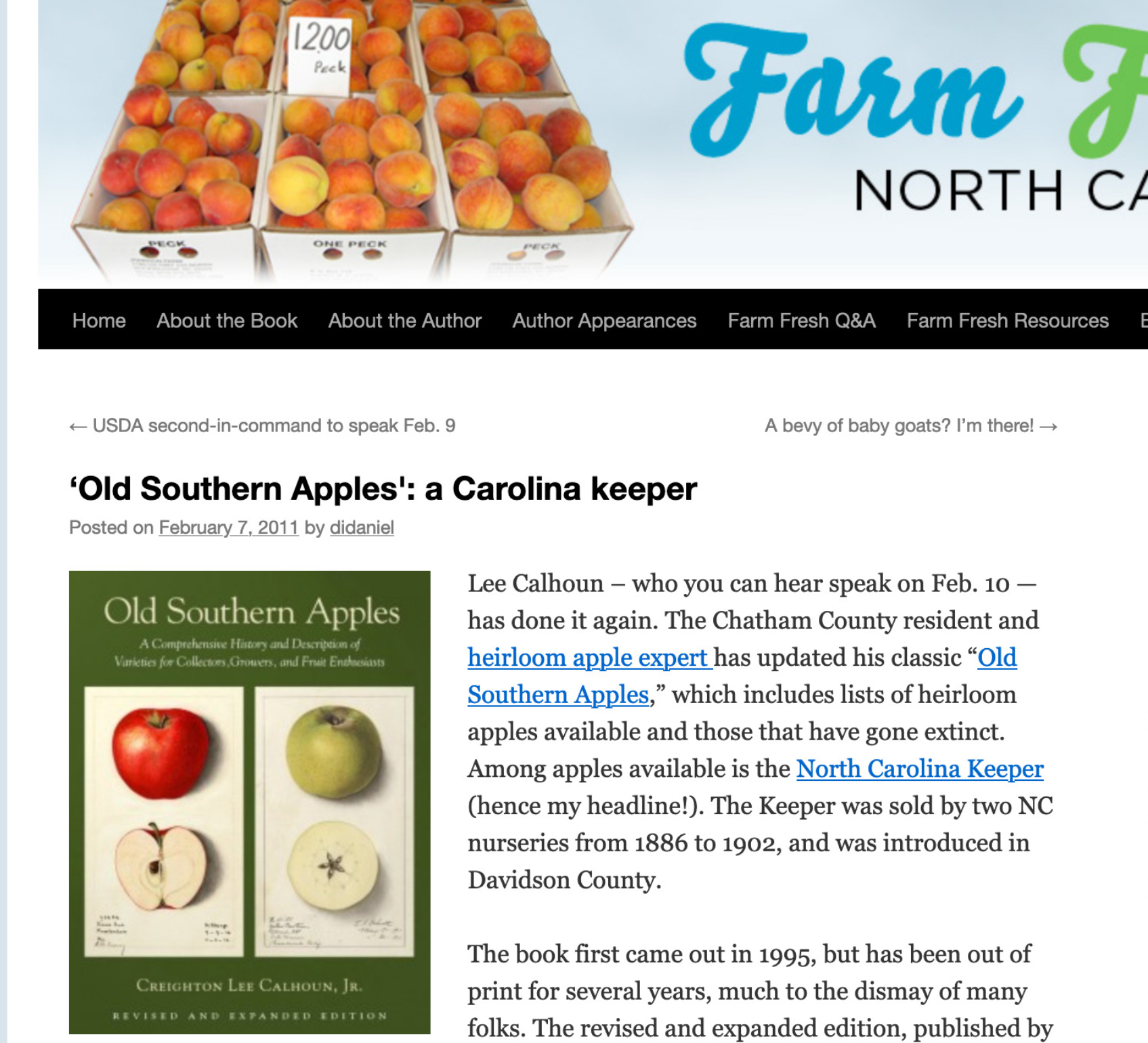 screen shot of the article on the Farm Fresh North Carolina webpage