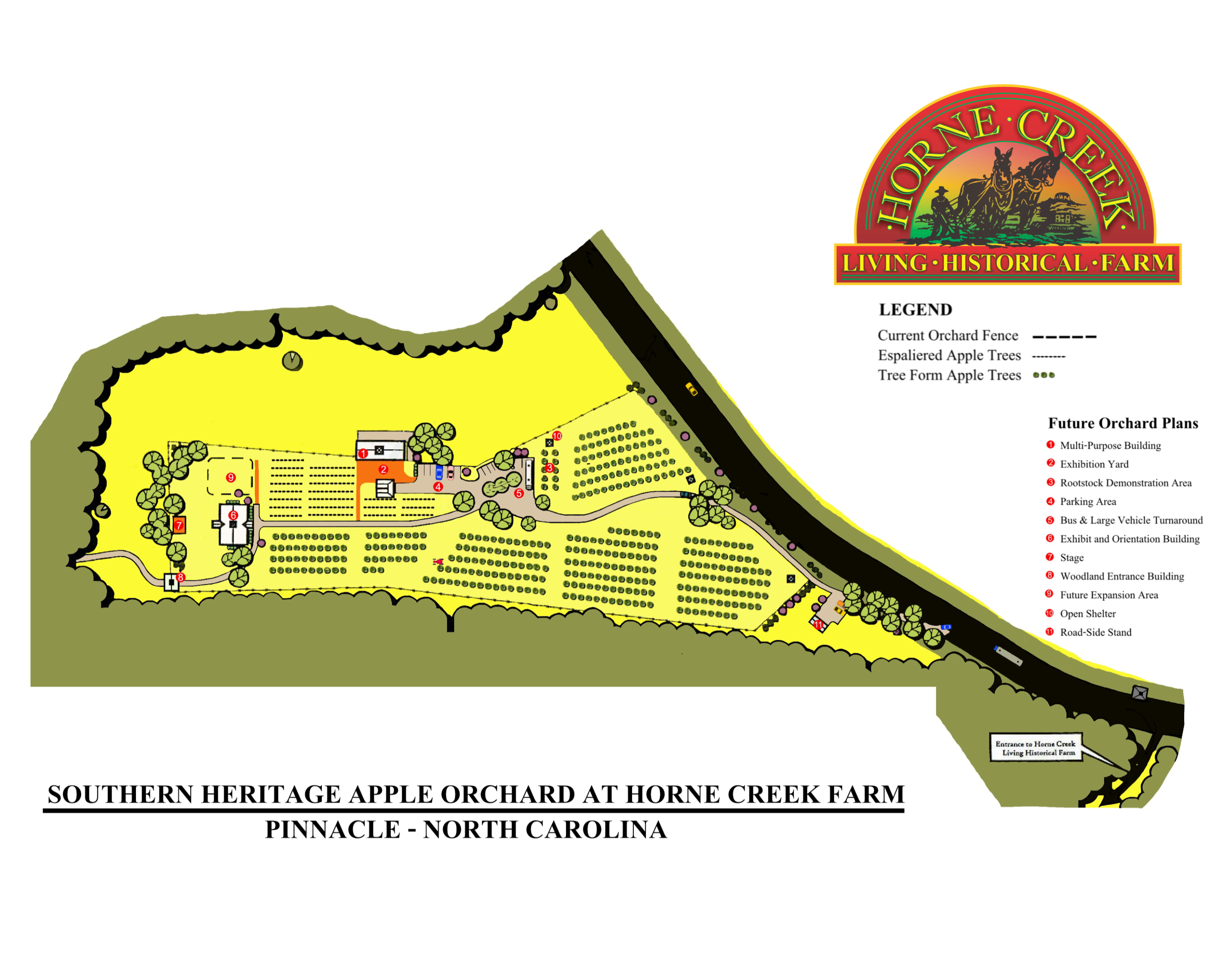 map of the Southern Heritage Apple Orchard at Horne Creek Farm