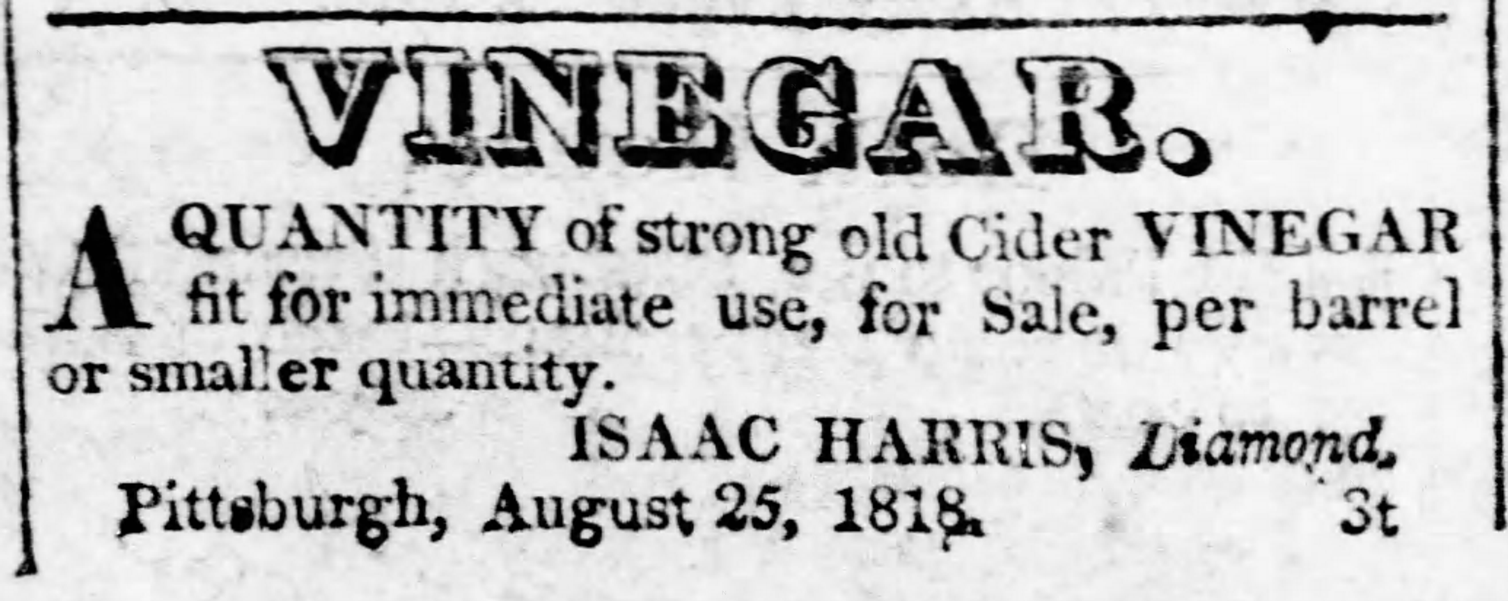 antique advertisement for a general store listing cider vinegar as being in stock