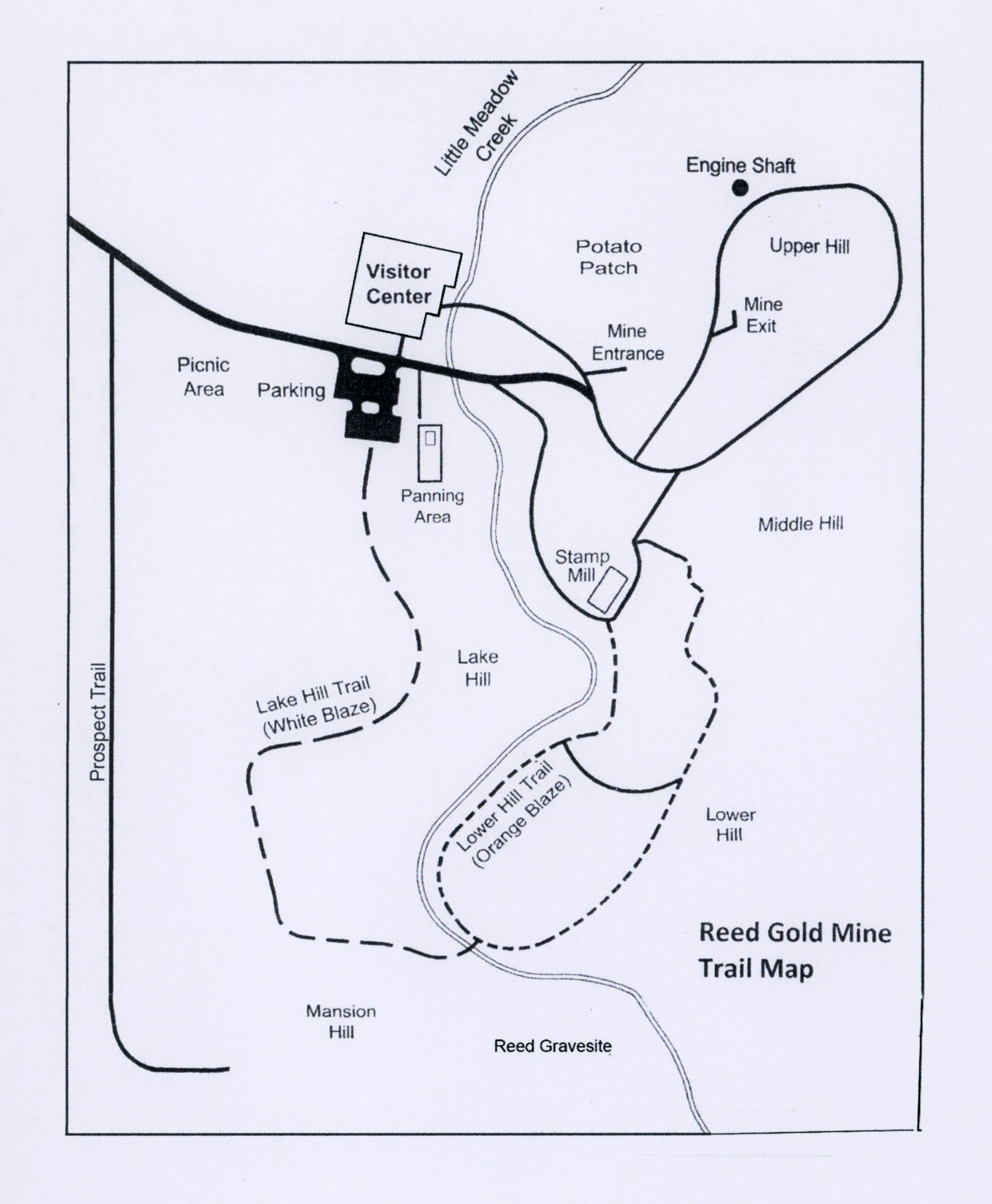 trail map of Reed Gold Mine
