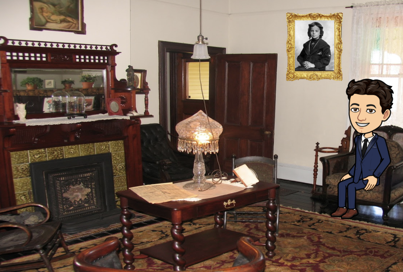 interior of the parlor of the Old Kentucky Home with cartoon avatar of an interpreter in center of room