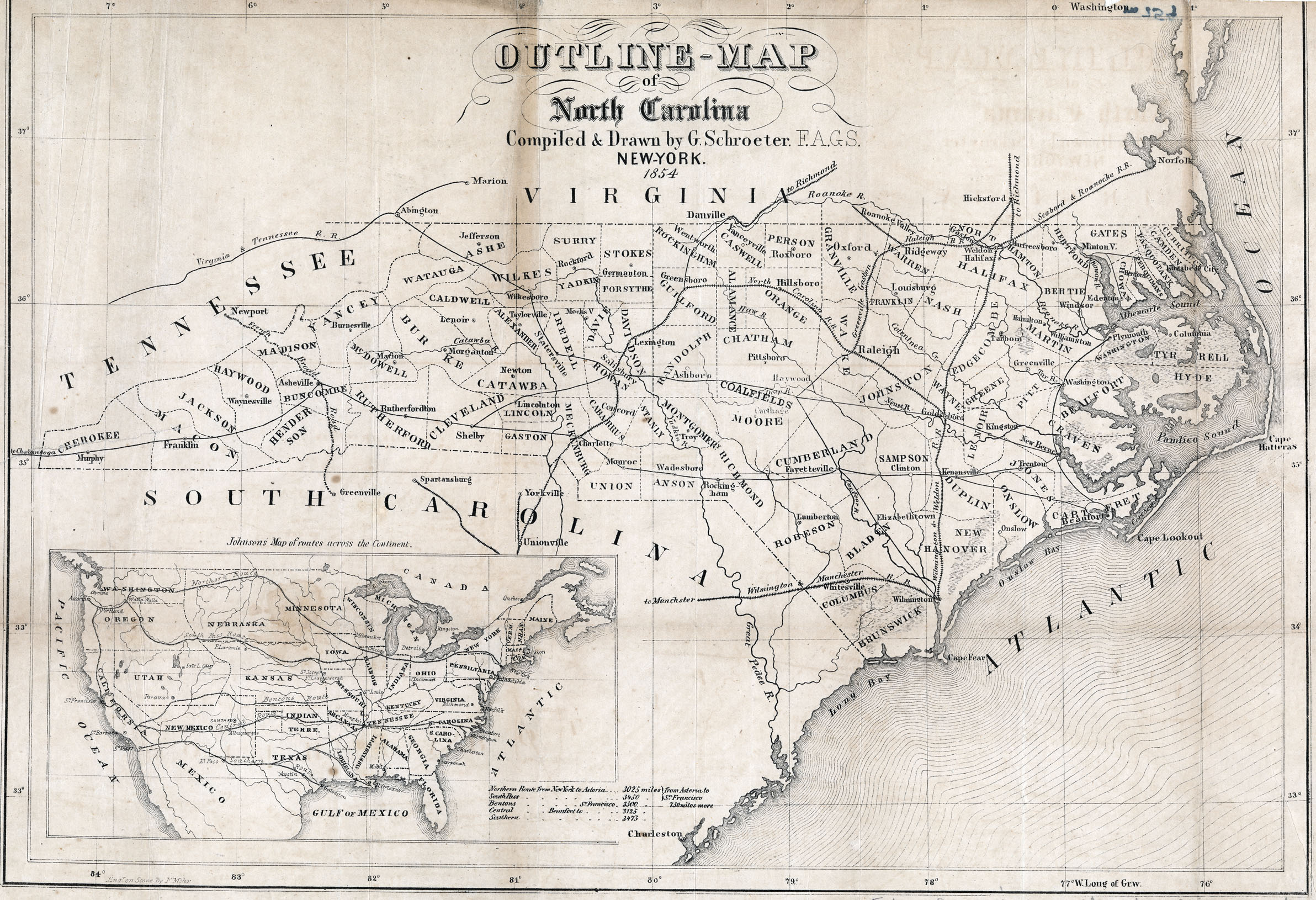 antique map of railroad lines in North Carolina