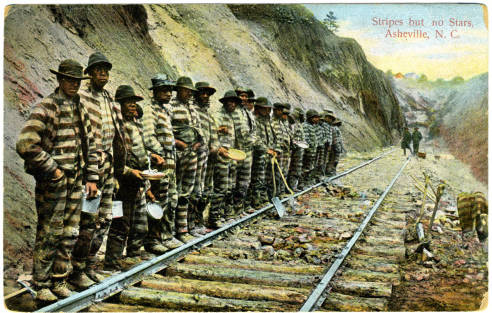 Postcard showing African American male prisoners constructing railroad in Asheville