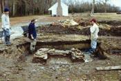 Large Slave Quarter - west chimney exposed.