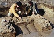 Large Slave Quarter - dismantling west chimney.