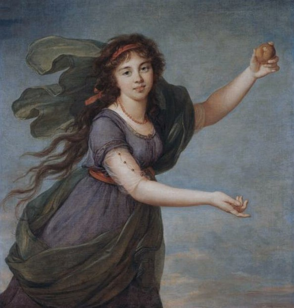painting of a woman holding an apple