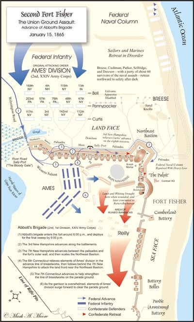 map of advance of Abbott's Brigade