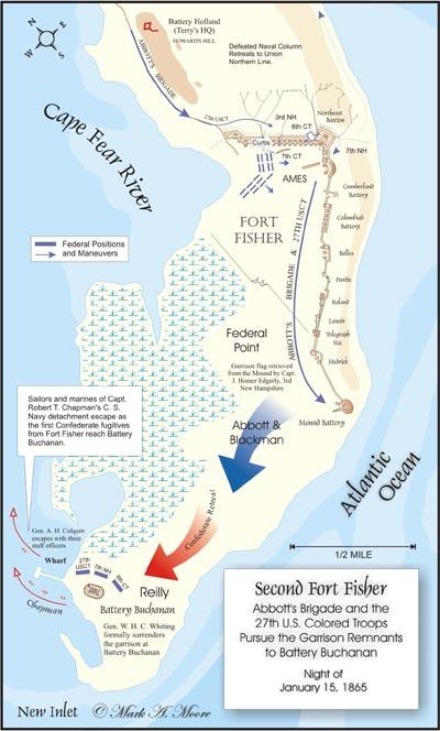 map of surrender at Battery Buchanan