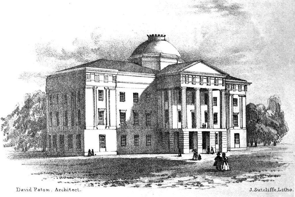 1840 lithograph of NC State Capitol