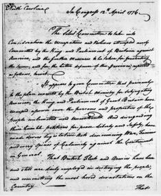 The first page of the Halifax Resolves