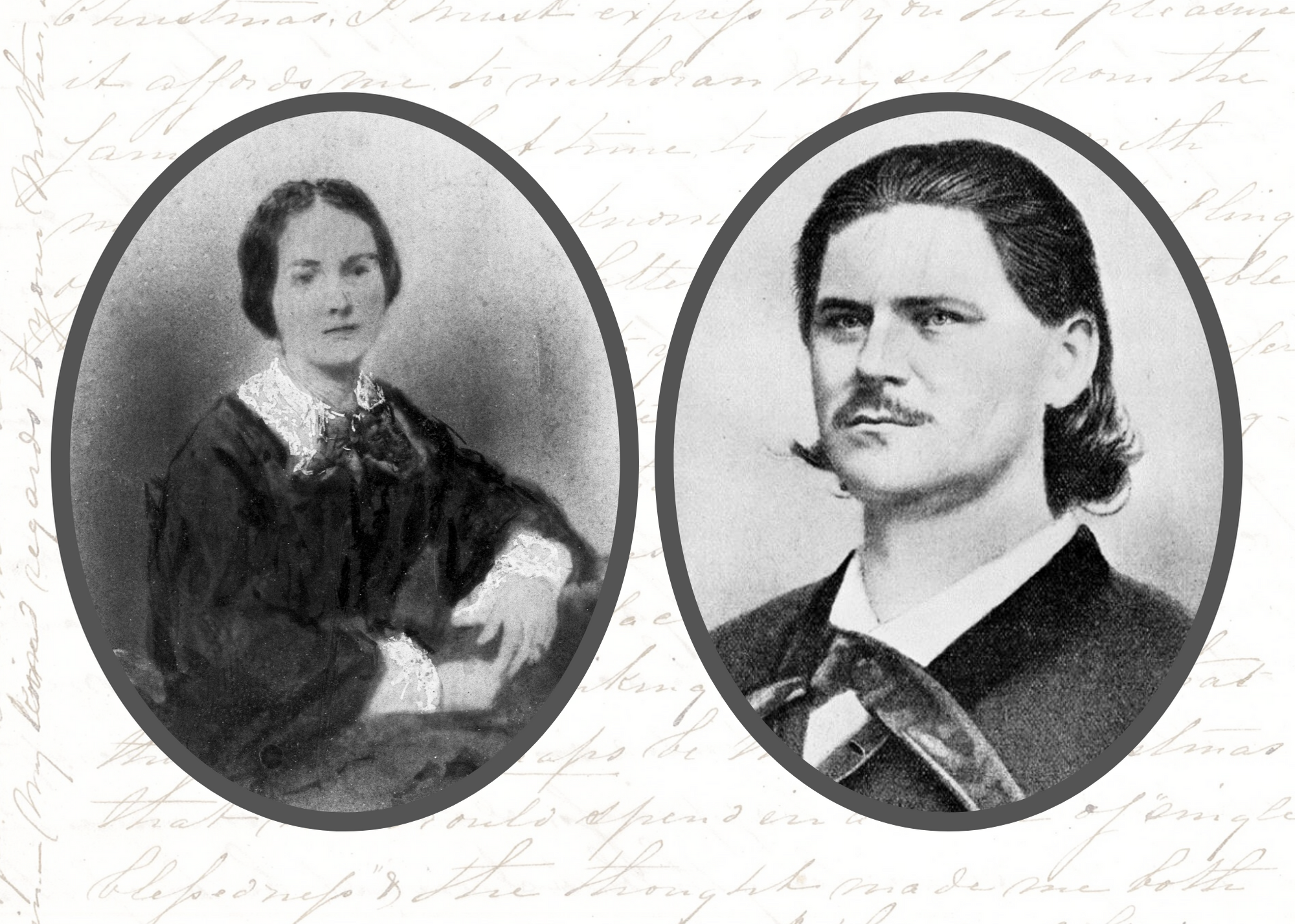 Portrait of a woman seated at left and headshot of man at right