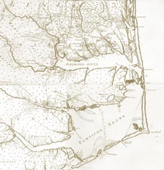 Map of Eastern North Carolina by Moseley 1733