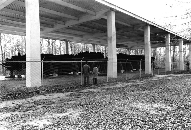 remains of the CSS Neuse under the first boat shelter, 1969
