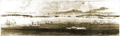 Confederate Defenses at Old Inlet — Cape Fear, Ca. 1865 Harper's Weekly — A Journal of Civilization