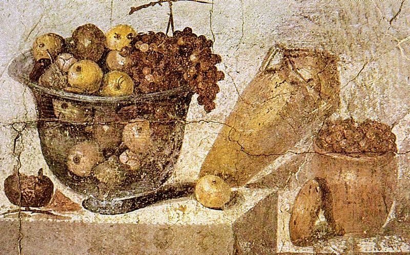 Ancient Roman mural of a vase filled with apples and grapes, a wine container, and a jug filled with olives