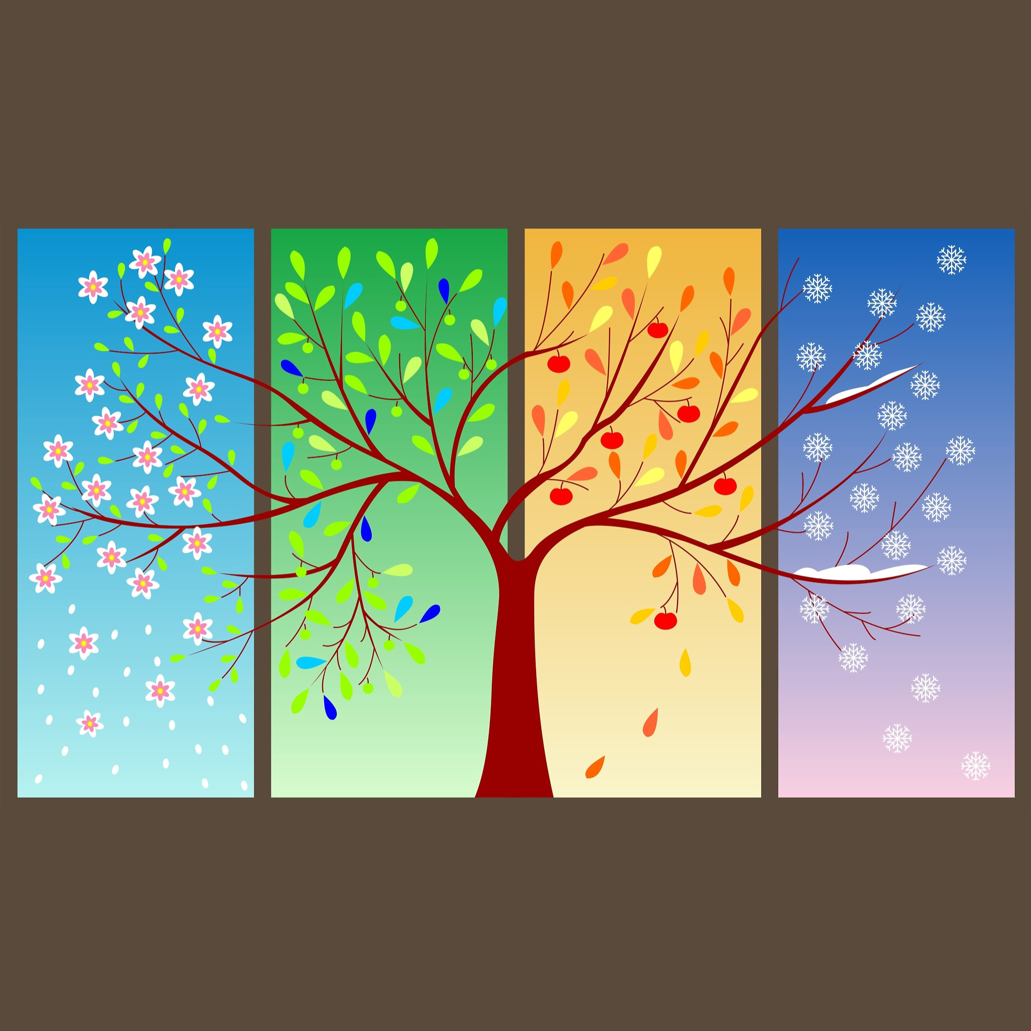 illustration of an apple tree during all four seasons