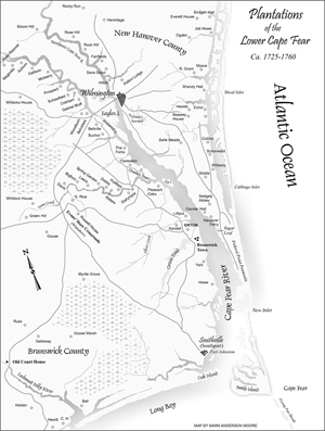 map of the plantations on the Lower Cape Fear river