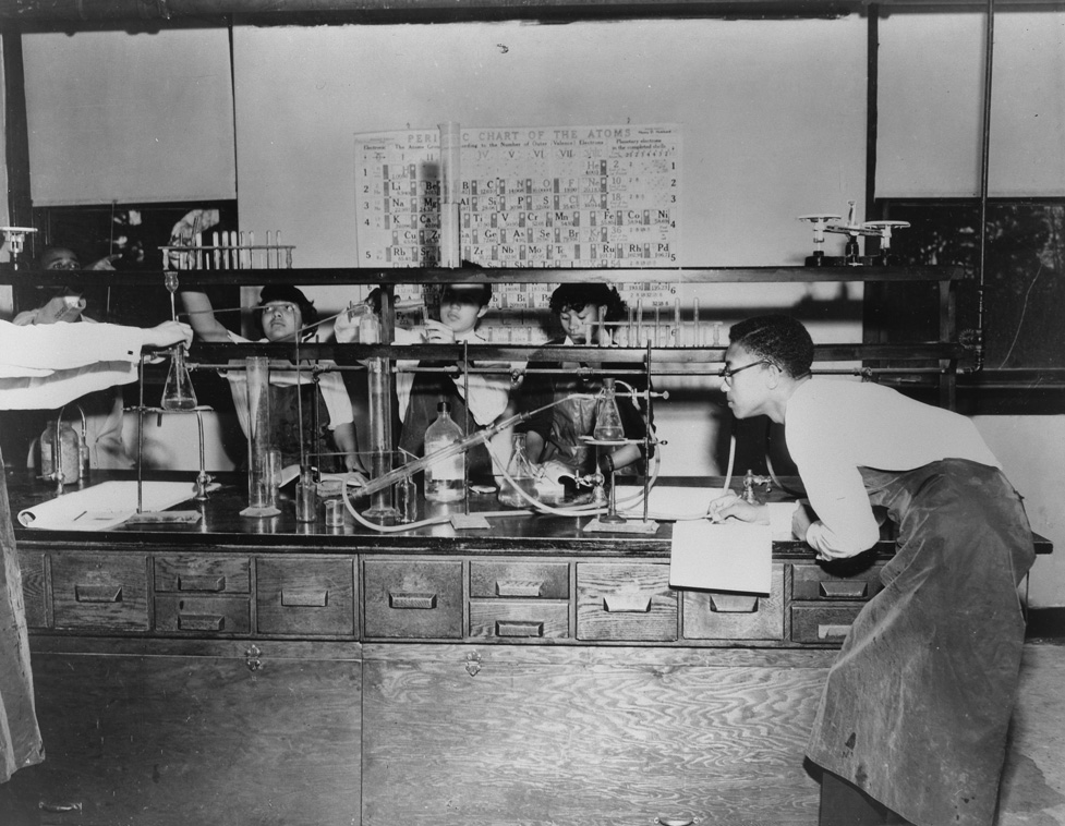 Students in the science lab at Palmer Memorial Institute