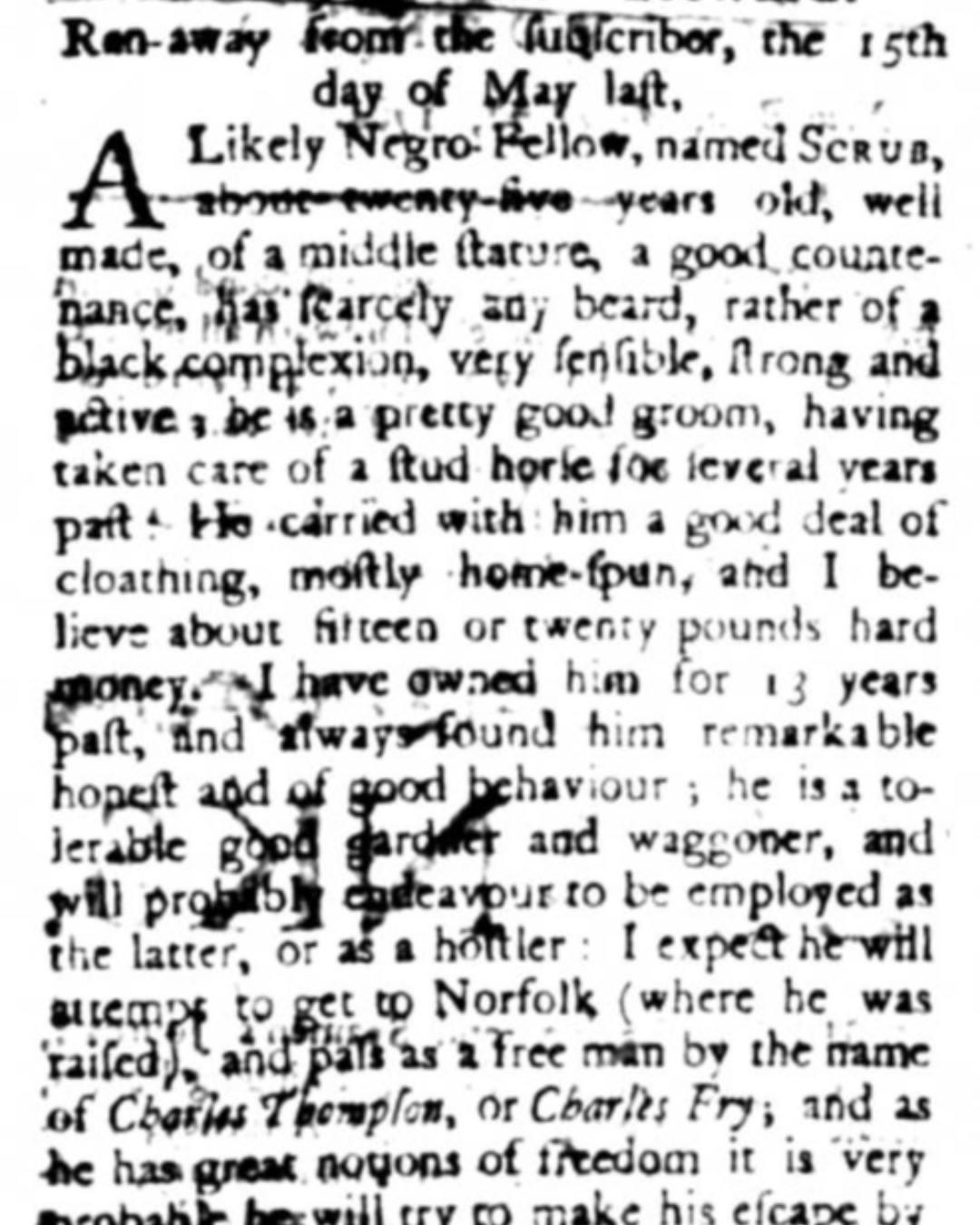 Newspaper advertisement seeking information about Scrub