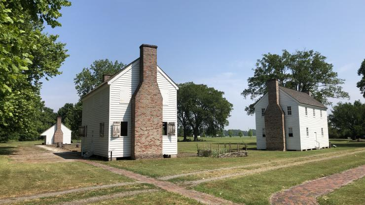 Three buildings within the enslaved community