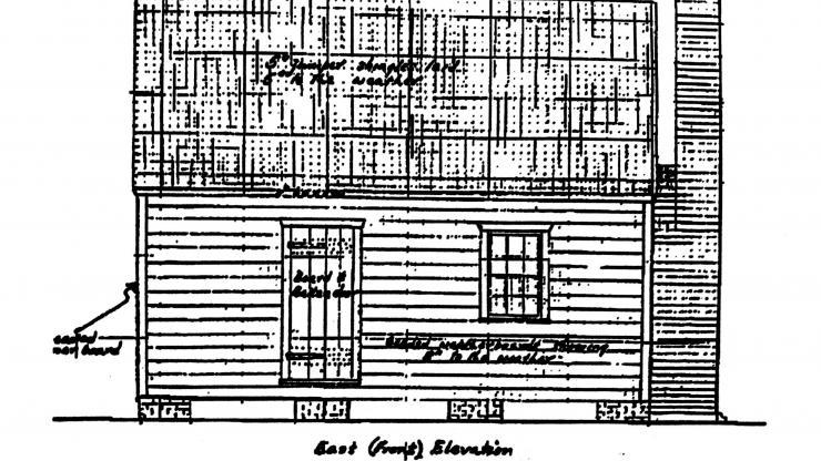 elevation drawing of enslaved kitchen