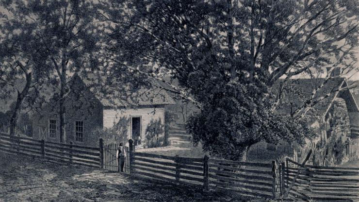 Engraving of the Bennett farmstead