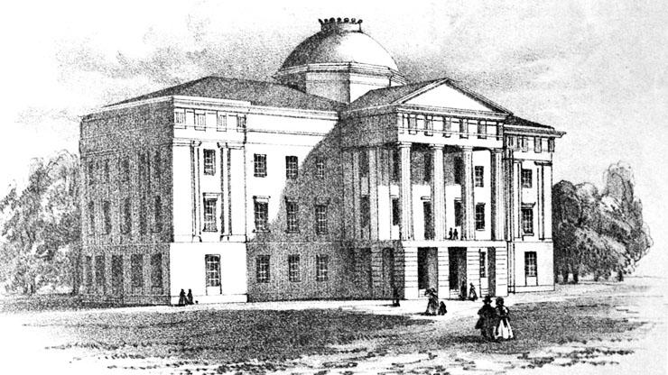 engraving of the Capitol building