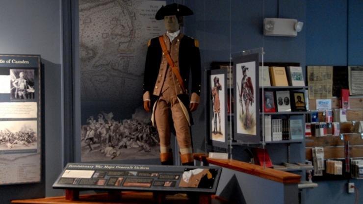 Museum exhibit of Caswell's uniform