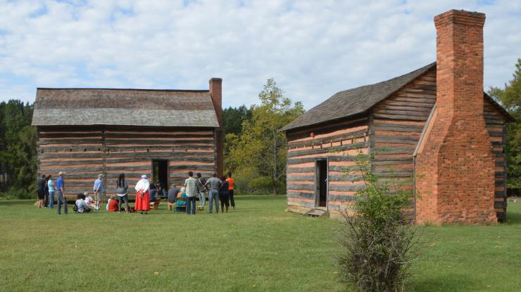 reconstructed buildings at James K. Polk State Historic Site