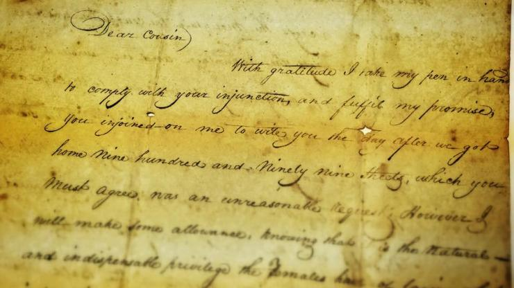 detail of letter written by Vance