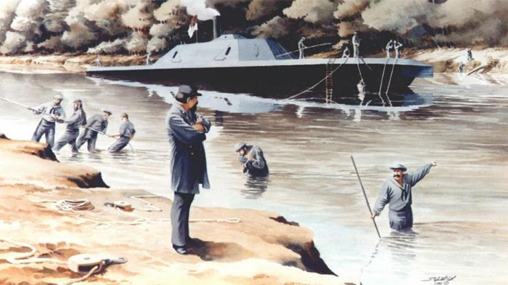watercolor painting of the CSS Neuse