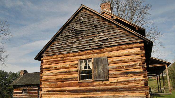 detail of the farmstead at Vance Birthplace