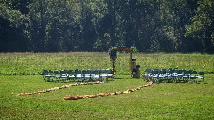 Site grounds set up for an outdoor wedding