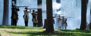 Reenactors demonstrate the Battle of Alamance
