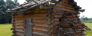 reconstructed log cabin at Fort Dobbs