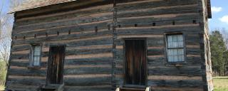 reconstructed Polk family cabin