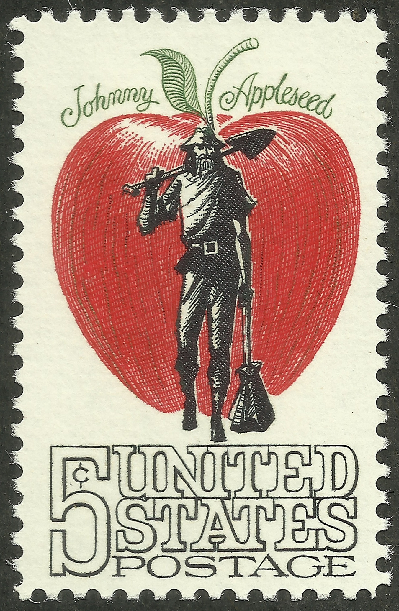 United States postage stamp depicting Johnny Appleseed in front of a large red apple