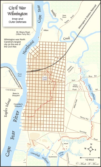Confederate map of Wilmington