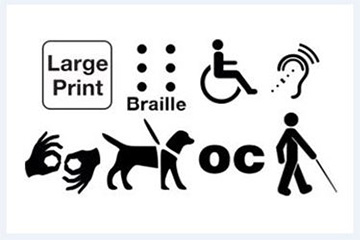The different logos associated with Accessibility