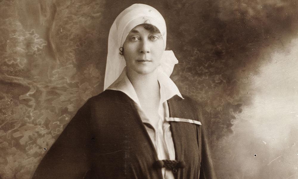 This sepia image shows Madelon Hancock, a nurse from Asheville, North Carolina.