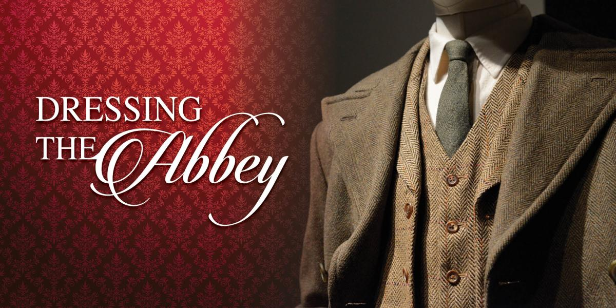 """Graphic for """"Dressing the Abbey,"""" featuring a man's suit on a mannequin"""