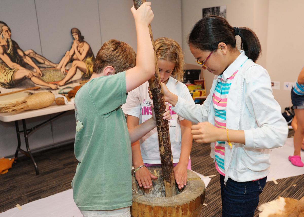 Homeschooled children learning at the North Carolina Museum of History