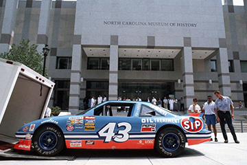 Dale Earnhardt's race car outside the North Carolina Museum of History building in Downtown Raleigh
