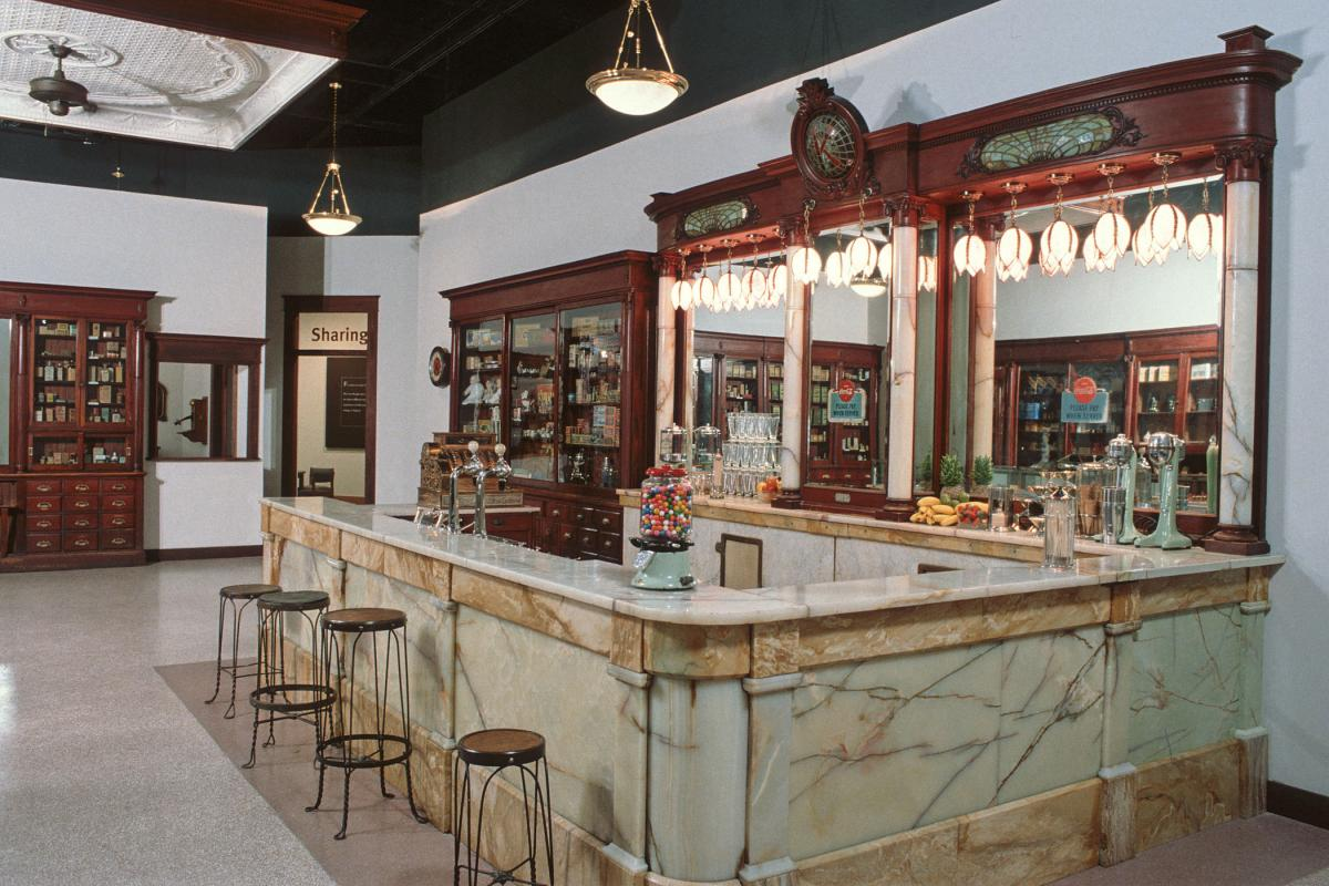 A re-created 1920s Drugstore, an exhibit at the North Carolina Museum of History