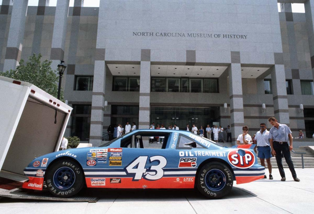Dale Earnhardt's race car outside of the North Carolina Museum of History building in Downtown Raleigh