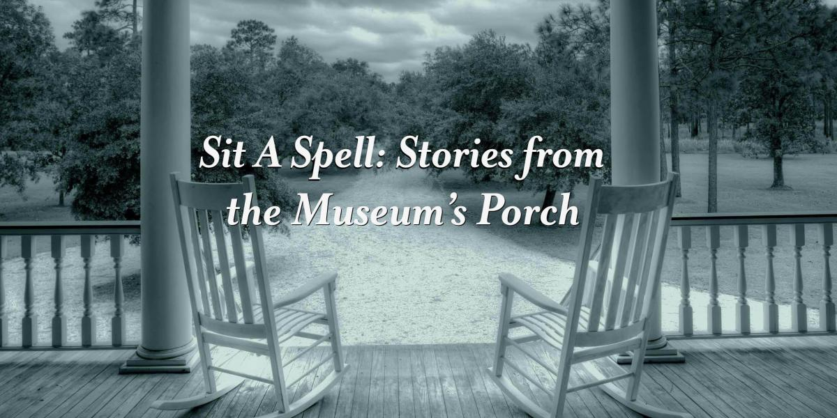The logo for our blog, Sit a Spell, features two rocking chairs on a porch with a beautiful view of trees and woods.