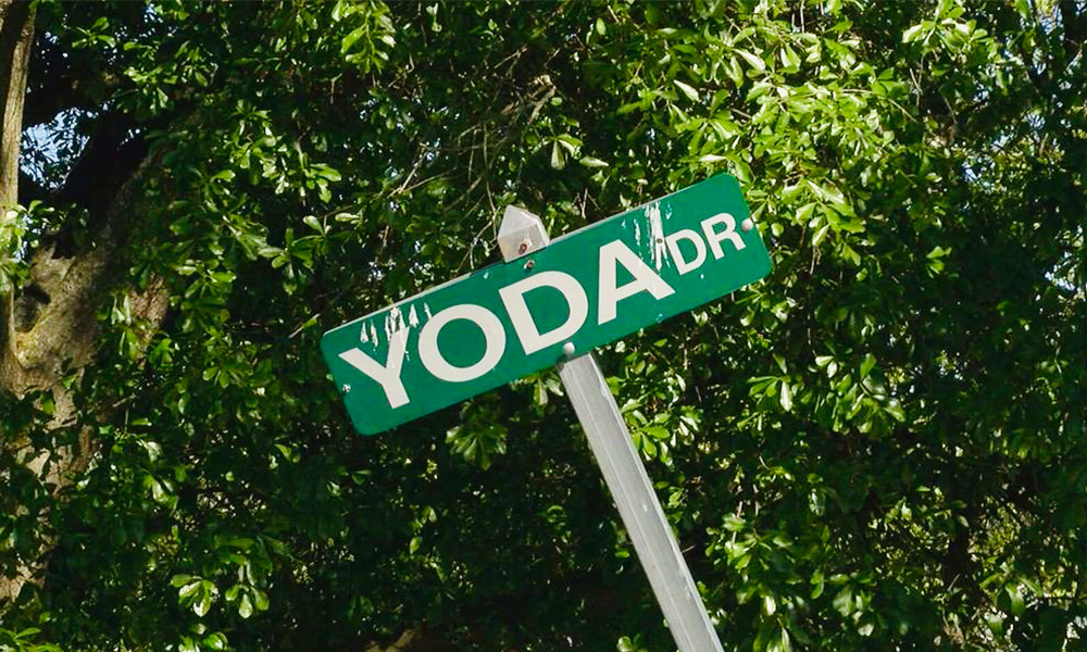 "A street sign reads ""Yoda Dr."" in Grover, North Carolina."