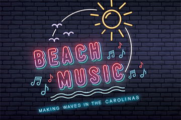 "The logo for the exhibit, ""Beach Music: Making Waves in the Carolina."""