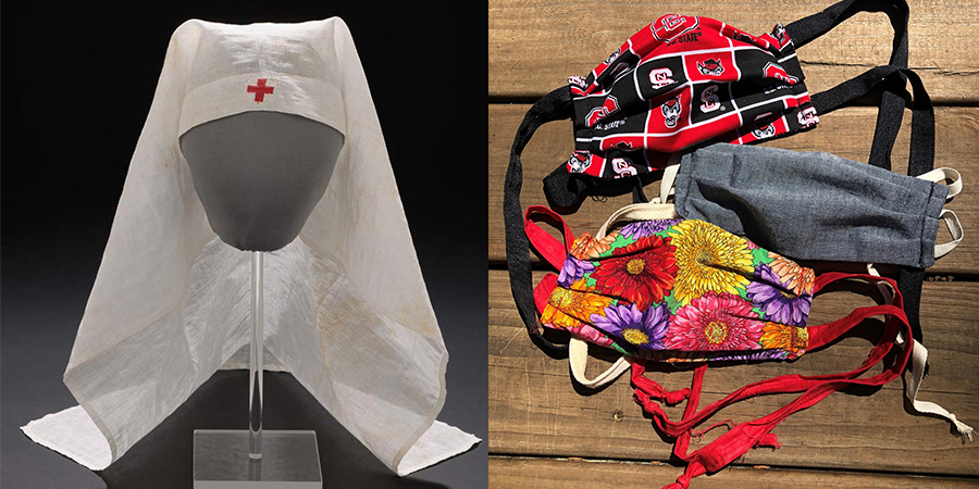 These two items from the museum's collection help us interpret the 1918-1919 influenza pandemic in North Carolina. Red Cross volunteer nurse Pauline Koonce wore this head covering (left) while working at an emergency hospital in Wilmington. The Vick Chemical Company, headquartered in Greensboro, manufactured medicines (right) around the clock to keep up with demand.