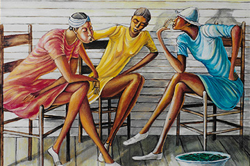 """The painting, """"Porch Ladies,"""" featured in our exhibit, """"The North Carolina Roots of Artist Ernie Barnes."""""""